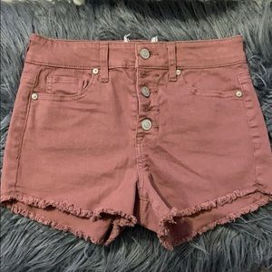 maroon/purple jean shorts